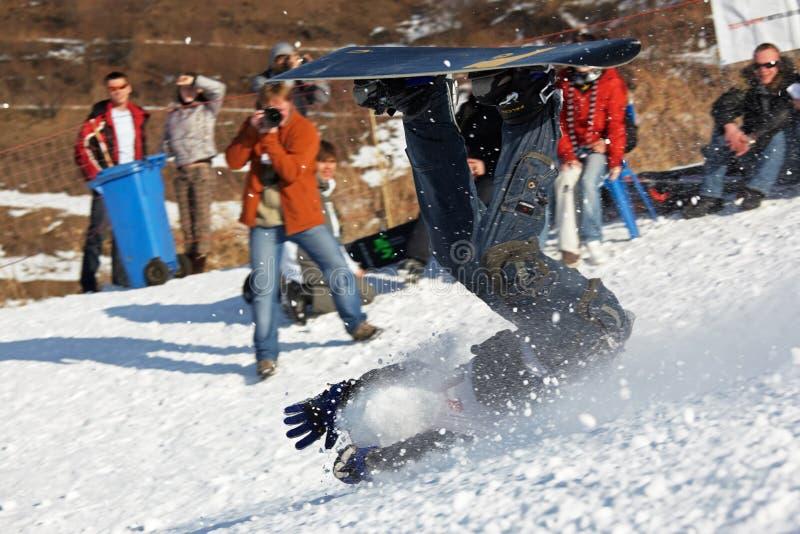 Snowboarding extreme fall stock photos
