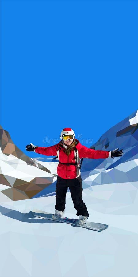 Snowboarding för ung kvinna överst av berget vektor illustrationer