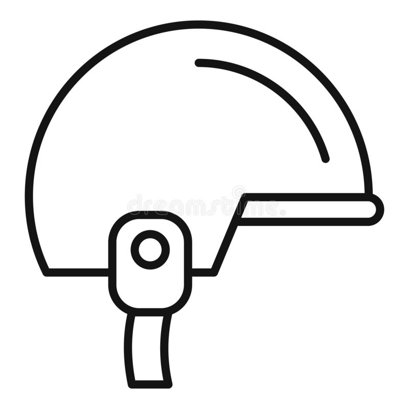 Snowboarding helmet icon, outline style stock illustration