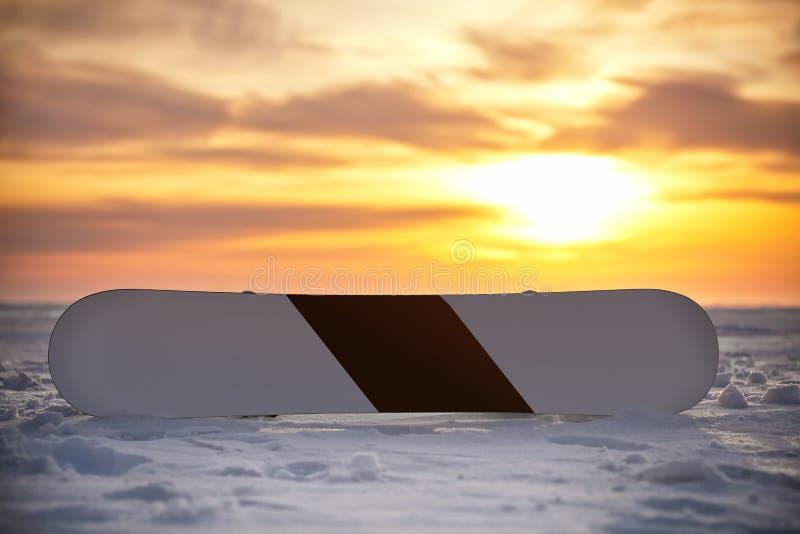 Snowboarding i snön på solnedgången arkivbild