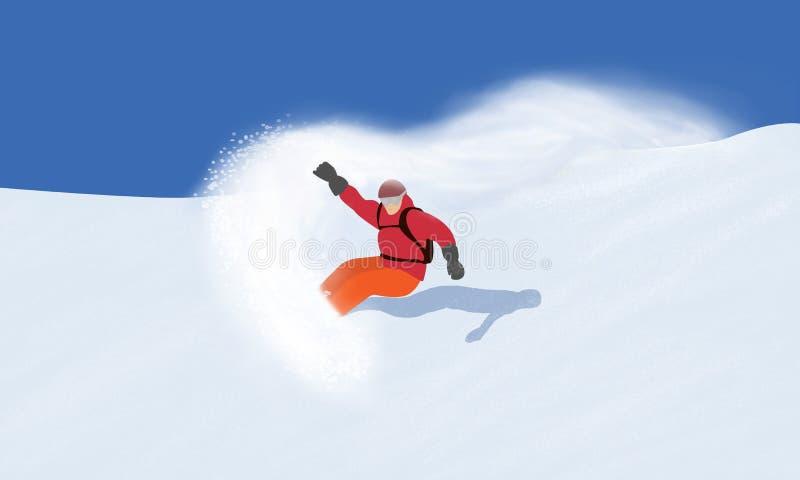 snowboarding Ilustracja zjazdowy snowboarder, odizolowywająca na śnieżnym góry tle ilustracji