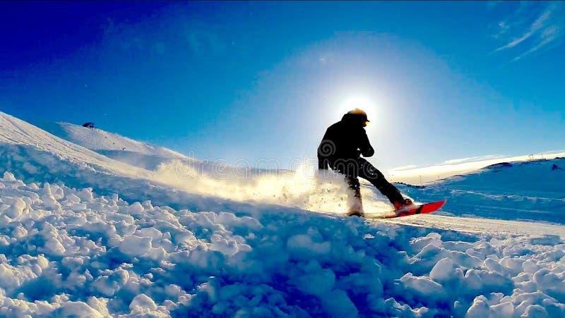 Snowboarding Islande image stock