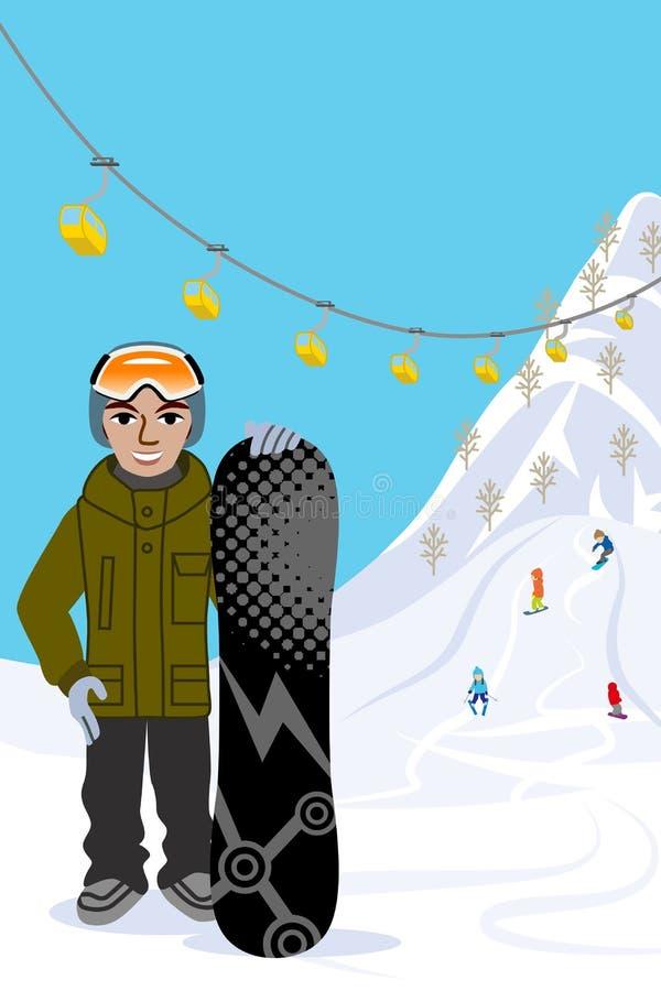 Snowboarding man, in ski slope. Vector illustration of Snowboarding man, in ski slope vector illustration