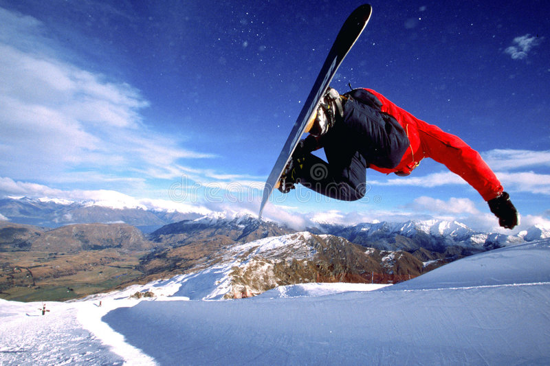 Snowboarding NZ photo libre de droits
