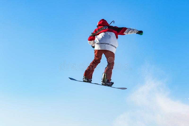 Snowboarding. Is an outdoor sport that people love in winter, and the difficult movements are also very enjoyable stock photos