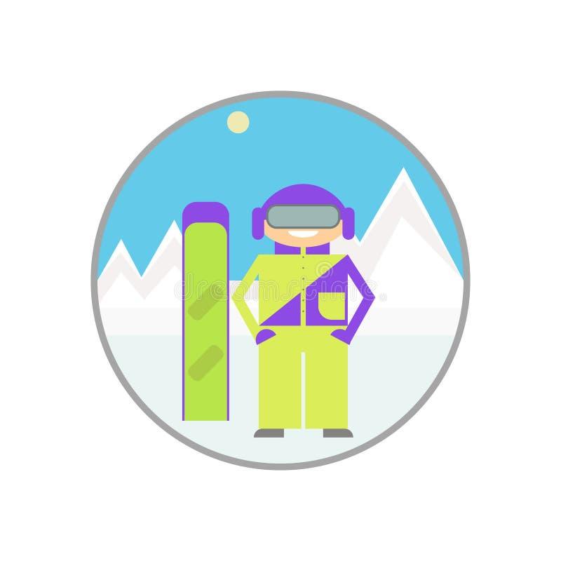 snowboarding Snowboarder aislado, estación de los deportes de invierno libre illustration