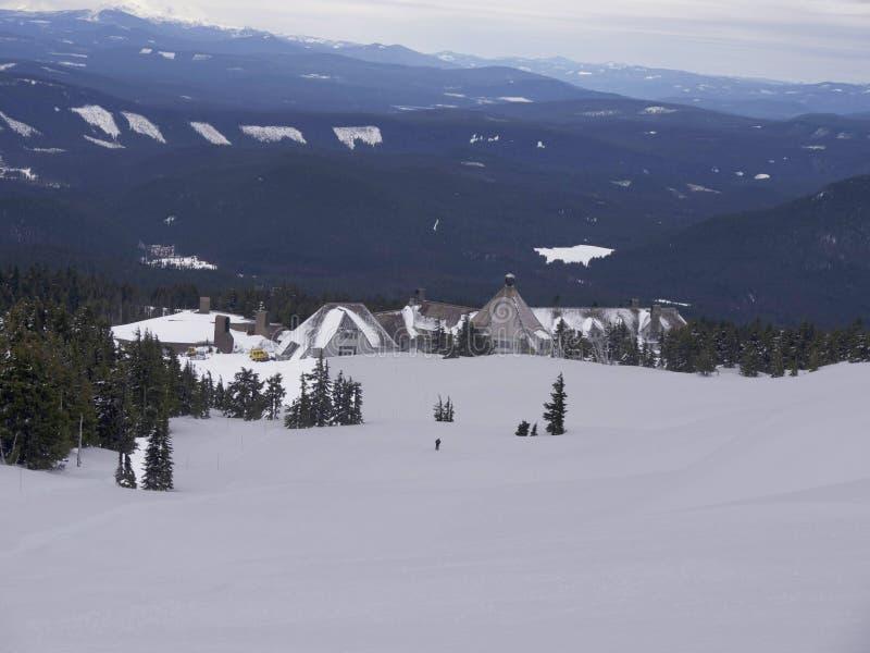 Snowboarding Timberline lodge ski resort Mount Hood. 03-30-2014 Oregon USA snow laver stock photography
