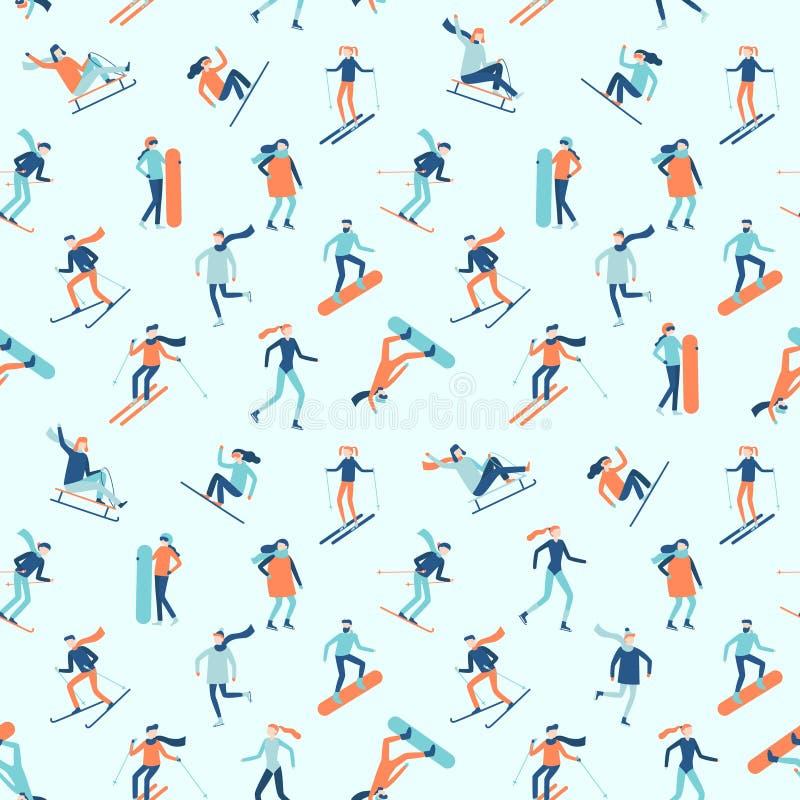 Snowboarding und Ski fahrendes nahtloses Muster Wintersporttätigkeiten, junge Leute auf Ski oder Snowboardvektorhintergrund stock abbildung
