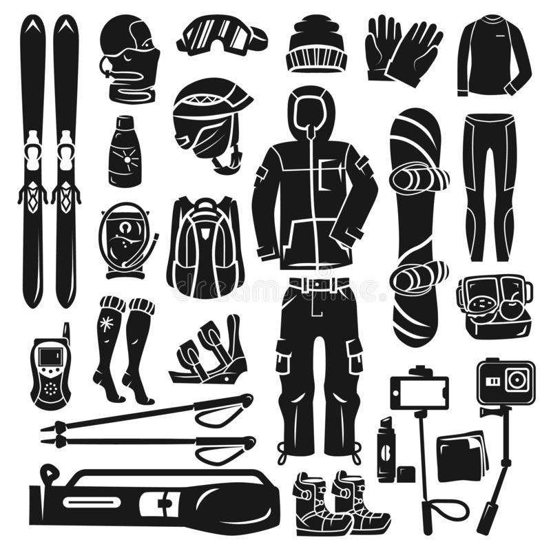Snowboardingausrüstungs-Ikonensatz, einfache Art lizenzfreie abbildung