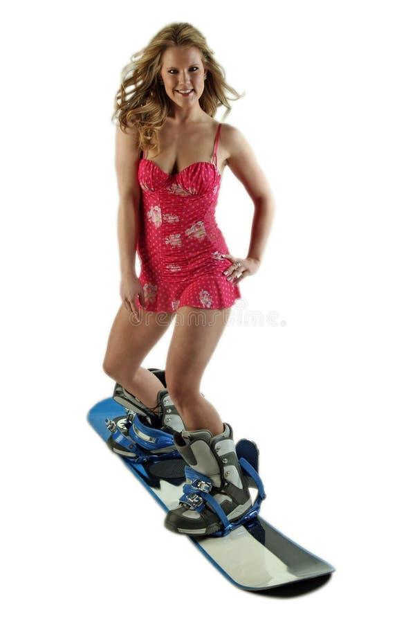 snowboardingkvinna royaltyfri bild