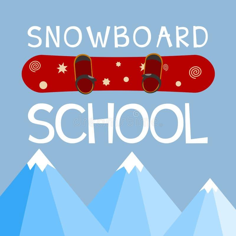 Snowboardingschullogo, Emblem, Gestaltungselement Vereinfirmenzeichen stock abbildung