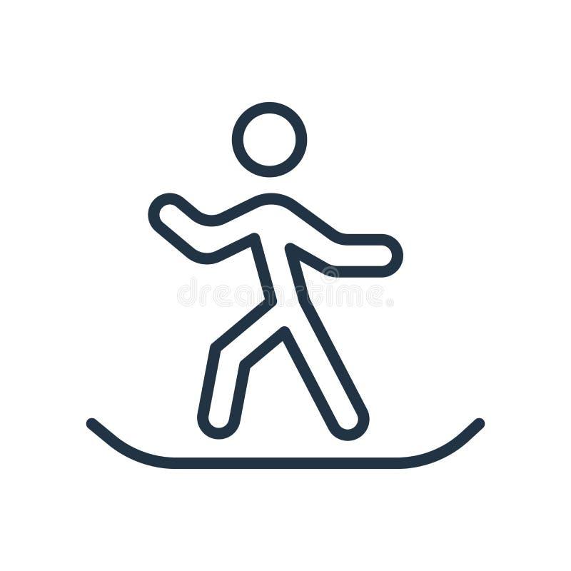 Snowboardingsymbolsvektor som isoleras på vit bakgrund, Snowboardingtecken stock illustrationer