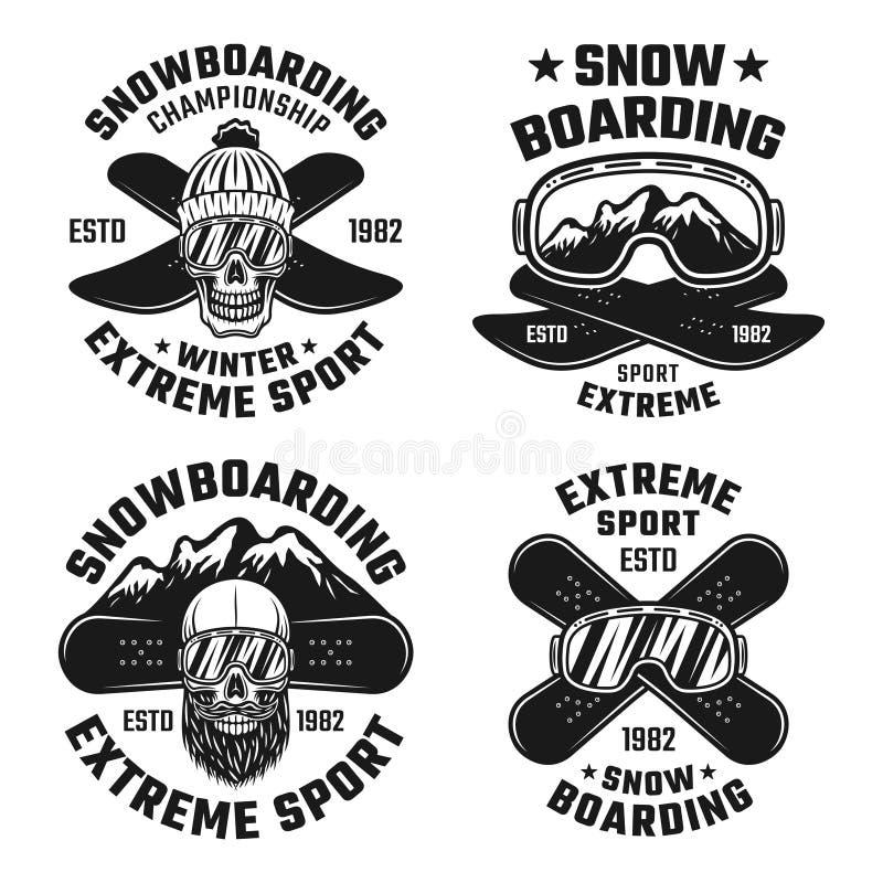 Snowboardingvektoremblem, emblem, etiketter, logoer vektor illustrationer