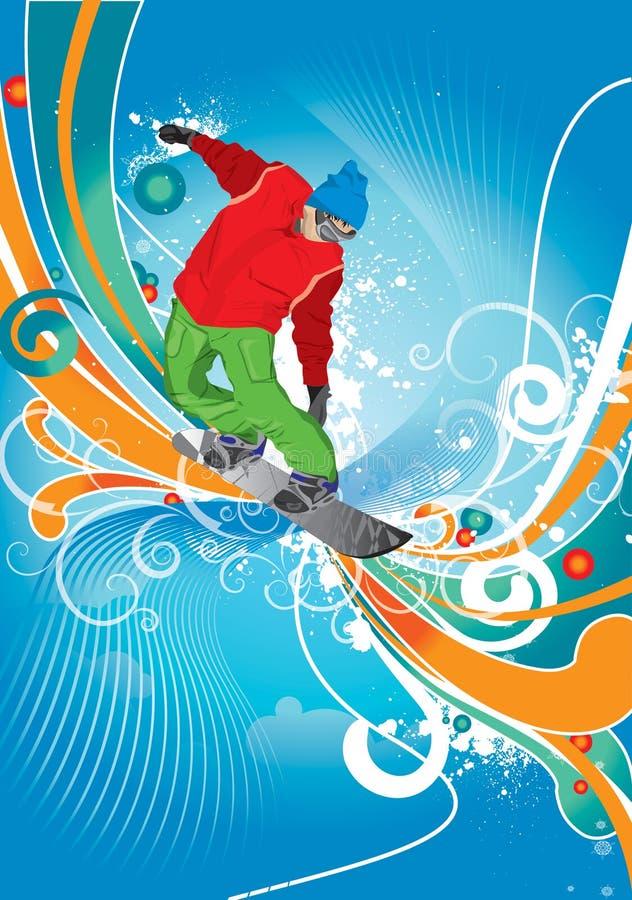 snowboardist 向量例证