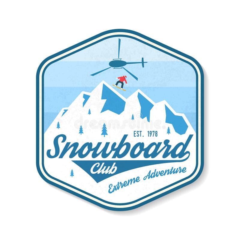 Snowboardklubbalapp vektor Begrepp för skjorta, tryck, stämpel, emblem, lapp eller utslagsplats Tappningtypografidesign med royaltyfri illustrationer