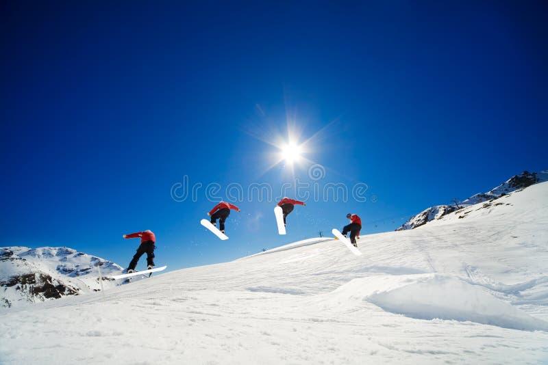 Snowboardreihenfolge stockfoto