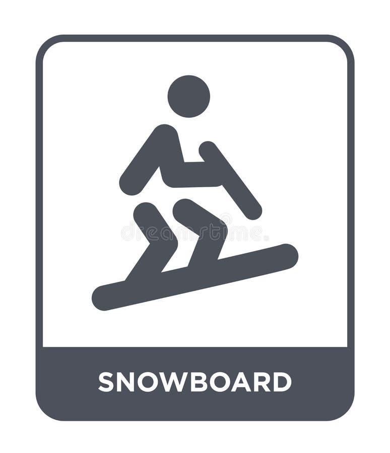 snowboardsymbol i moderiktig designstil Snowboardsymbol som isoleras på vit bakgrund enkel och modern lägenhet för snowboardvekto stock illustrationer