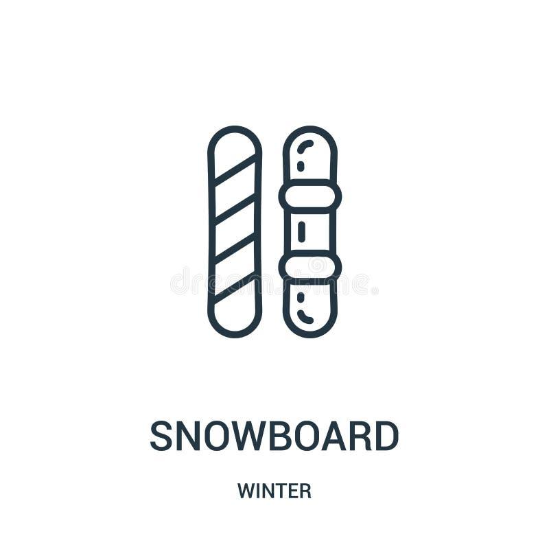 snowboardsymbolsvektor från vintersamling Tunn linje illustration för vektor för snowboardöversiktssymbol Linjärt symbol för bruk vektor illustrationer