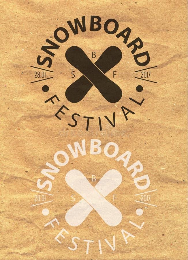 Snowboardtappning cirklade logotypen på bakgrund för kraft papper royaltyfri illustrationer