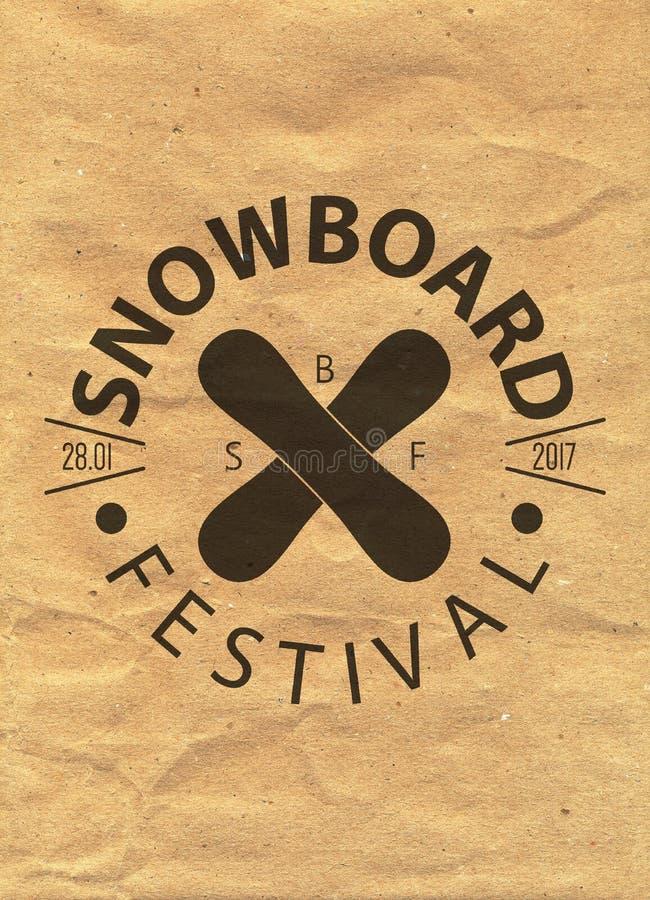 Snowboardtappning cirklade logotypen på bakgrund för kraft papper vektor illustrationer