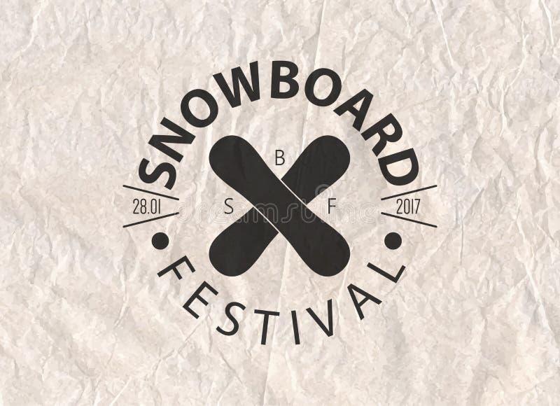 Snowboardtappning cirklade logotypen på bakgrund för pergamentpapper royaltyfri illustrationer