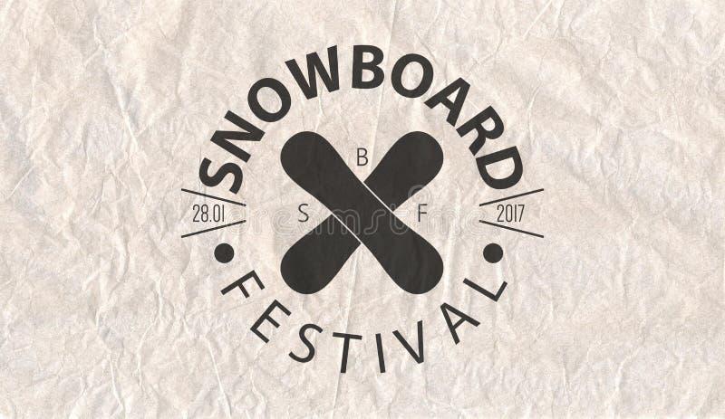 Snowboardtappning cirklade logotypen på bakgrund för pergamentpapper vektor illustrationer