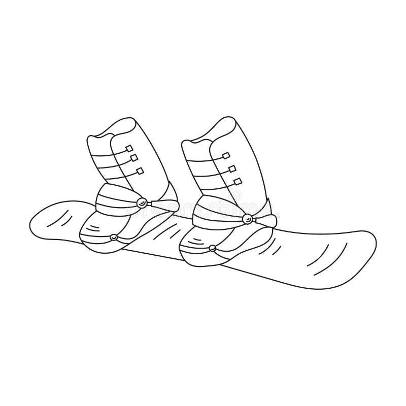 Snowboardvektorlinje symbol stock illustrationer