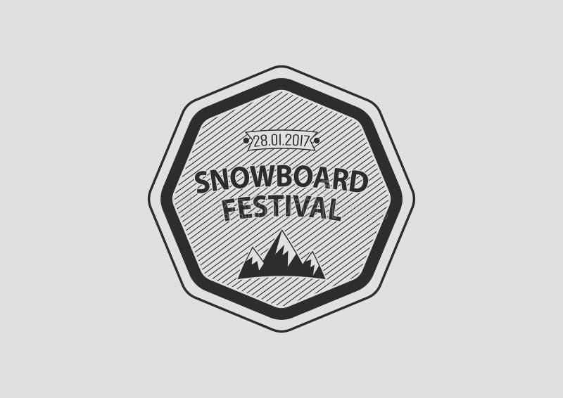 Snowboardweinlese-Kreislogo, flach lizenzfreie abbildung