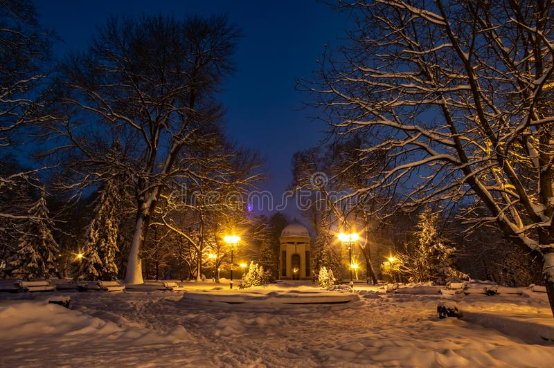 Snowbound city street at night royalty free stock photo