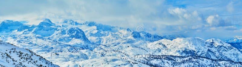The snowbound Dachstein Alps mountains, Salzkammergut, Austria royalty free stock photo