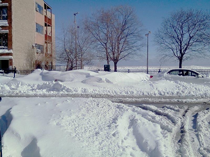 Snowbound Eastlake taras; Chicago, Illinois zdjęcia stock