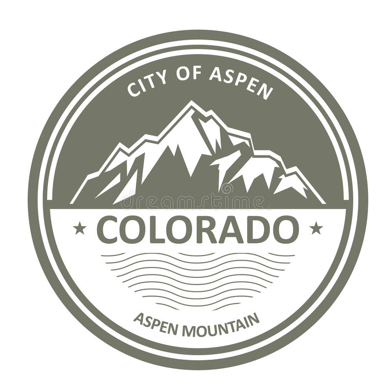 Snowbound Rocky Mountains - Colorado, Aspen. Label stock illustration