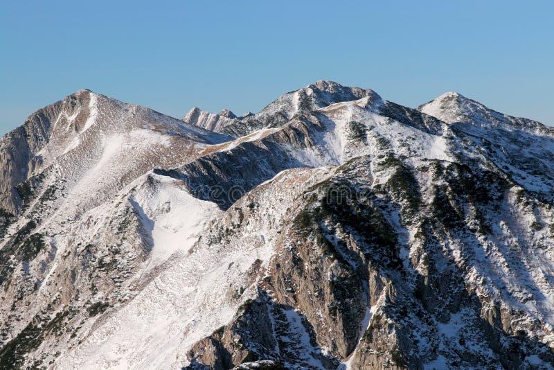 Snowcap mountain tops. In winter Bohinj, Slovenia stock images