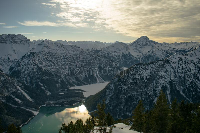 Snowcap Mountains during Sunset royalty free stock photography