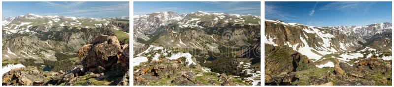 Snowcap wysokiej góry wierzchołka kolaż fotografia royalty free