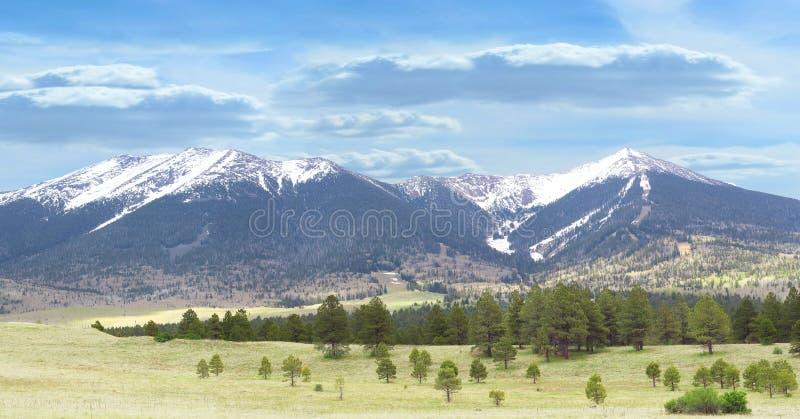 Snowcapped bergen stock afbeelding