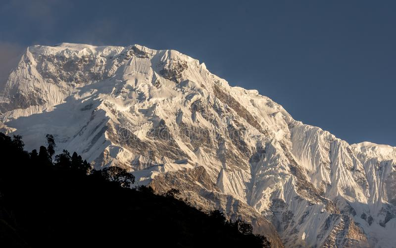 Snowcapped de bergtop van het Annapurnazuiden tegen blauwe hemel in Annapurna-de Trekking van het Basiskamp stock foto's