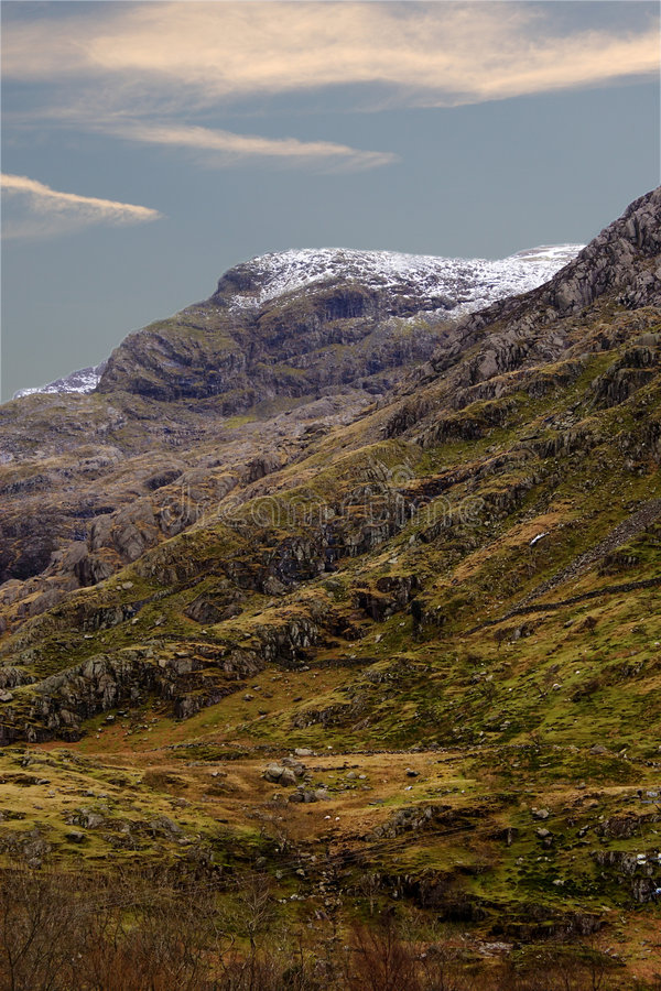 Snowcapped Mountain in Wales. A snowcapped mountain view in Snowdon, Wales royalty free stock image
