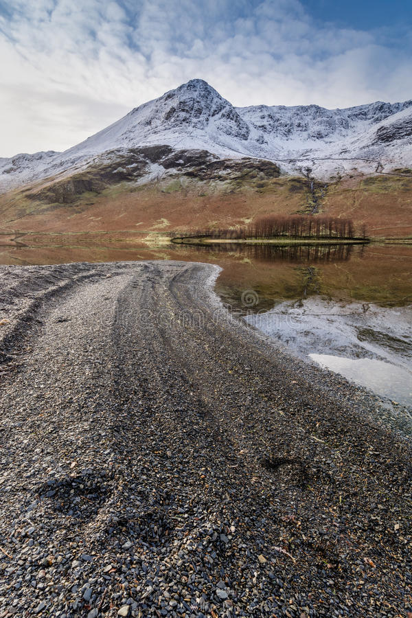 Snowcapped Mountains And Clear Reflections At Buttermere In The Lake District, UK. royalty free stock images
