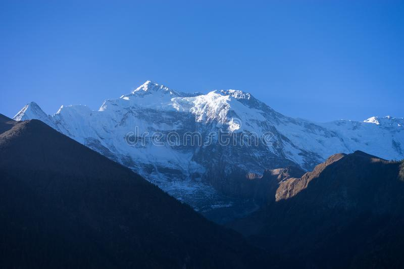 Snowcapped peak in the Himalaya mountains, Nepal stock photography