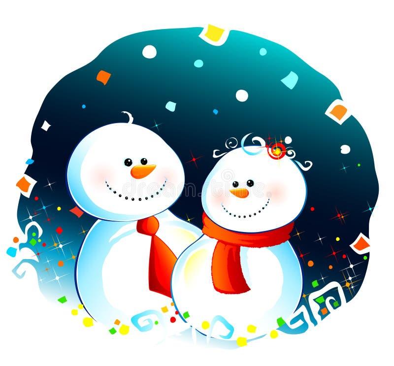 Snowcouple ilustração stock