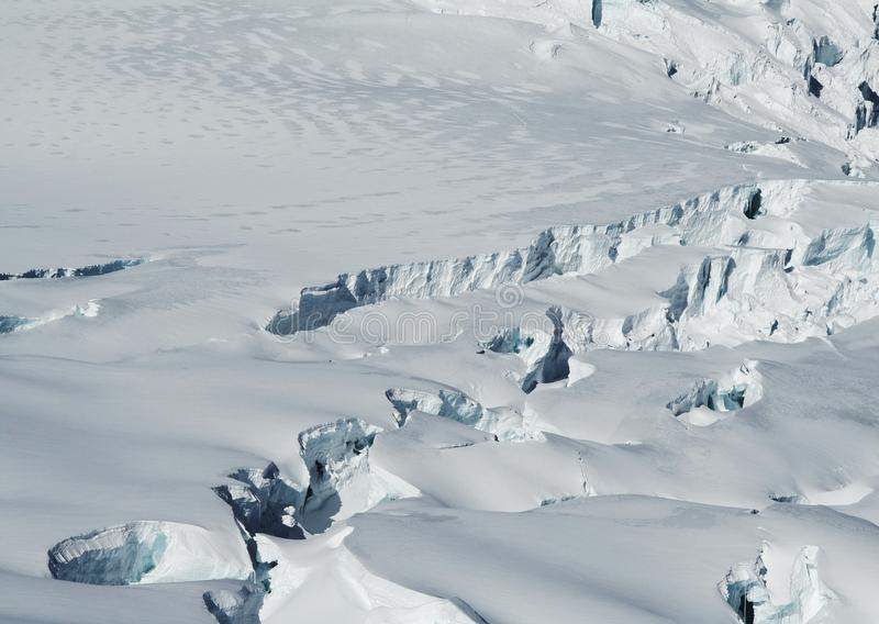 Snowcovered glacier. In the high Cordilleras stock photos