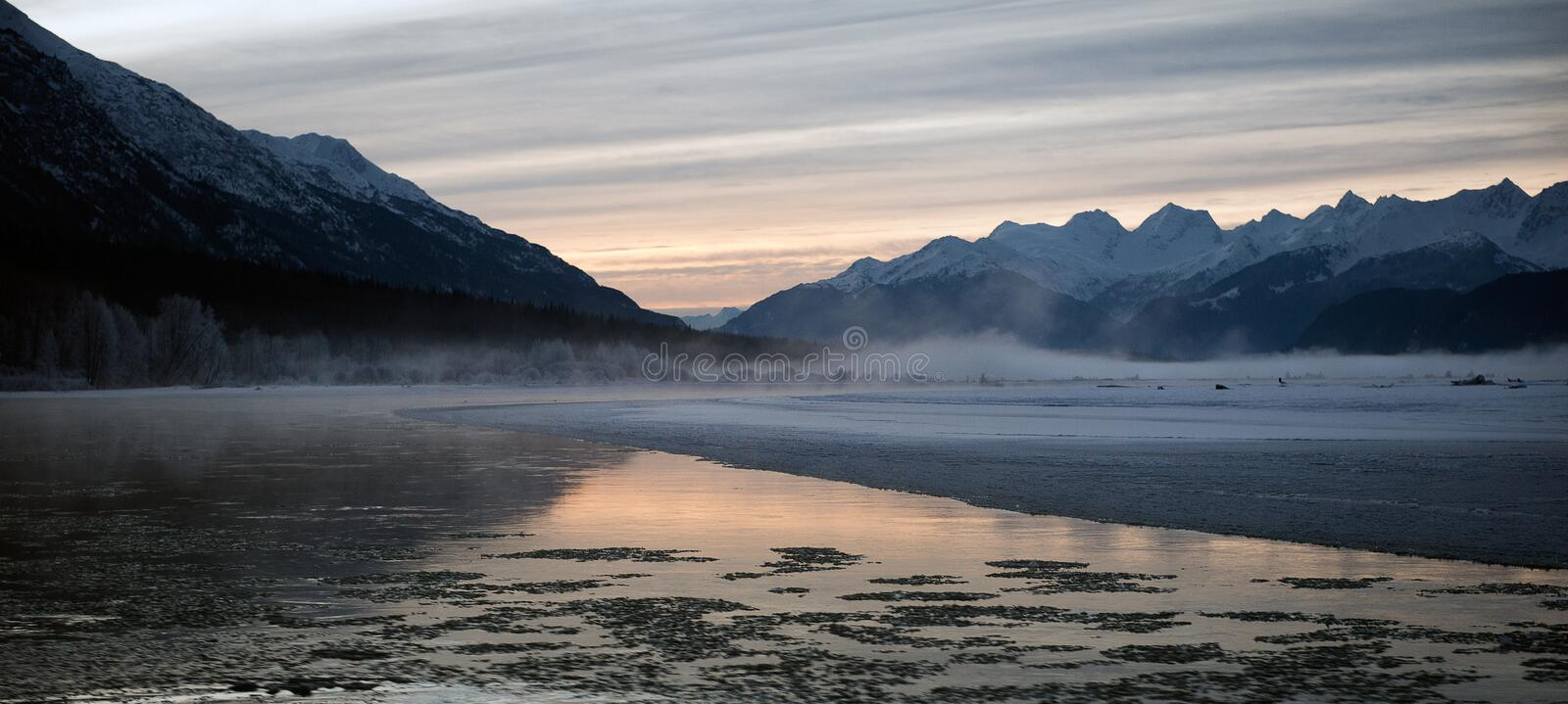 Snowcovered Mountains in Alaska. Chilkat State Park. Chilkat river. HAINES. Alaska. USA stock images