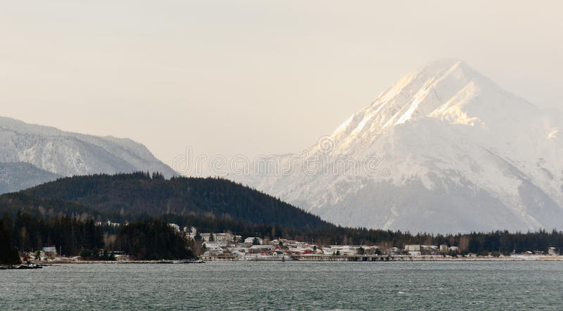 Snowcovered Mountains in Alaska. Chilkat State Park. Mud Bay. HAINES. Alaska. USA royalty free stock images
