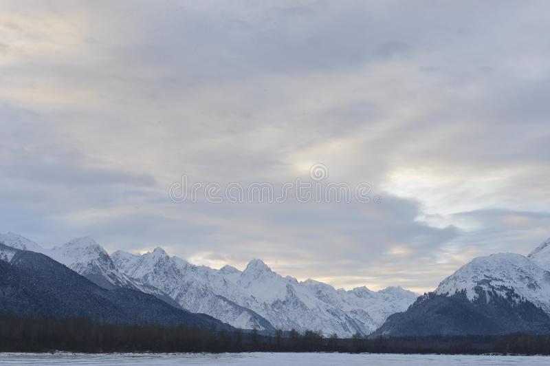 Snowcovered Mountains in Alaska. Chilkat State Park. Mud Bay. HAINES. Alaska. USA stock images