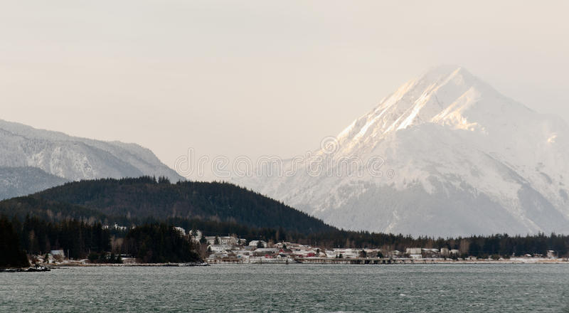 Snowcovered Mountains in Alaska. Chilkat State Park. Mud Bay. HAINES. Alaska. USA stock photo