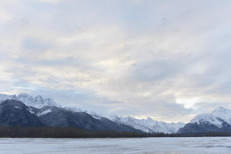 Snowcovered Mountains in Alaska. Chilkat State Park. Mud Bay. HAINES. Alaska. USA stock photography