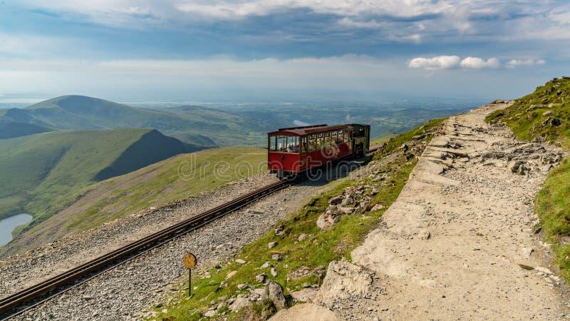Snowdon Mountain Railway, between Mount Snowdon and Llanberis, G. Near Llanberis, Gwynedd, Wales, UK - June 14, 2017: View from the Llanberis Path, looking north royalty free stock photos