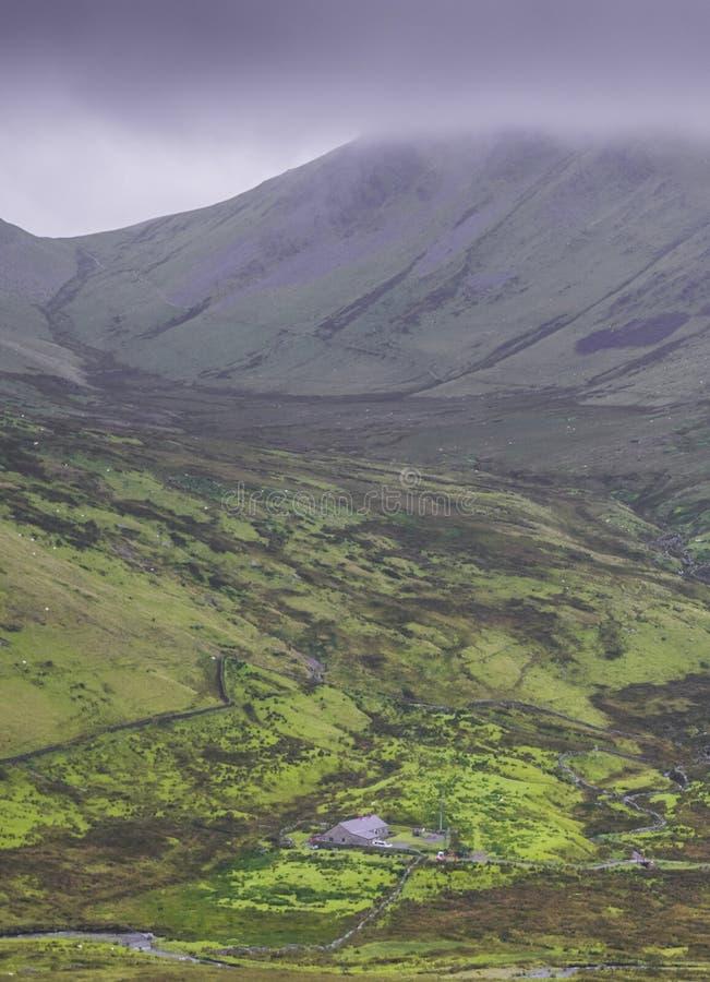Snowdonia Vista dalla ferrovia della montagna di Snowdon fotografia stock
