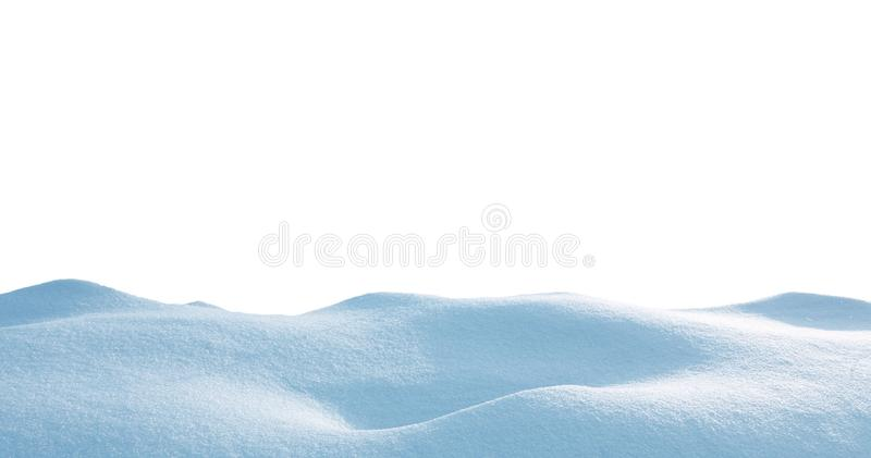 Snowdrift isolated on white background.Winter snow  background. A big snow drift. A large beautiful snowdrift isolated on white background.Winter snow stock photos